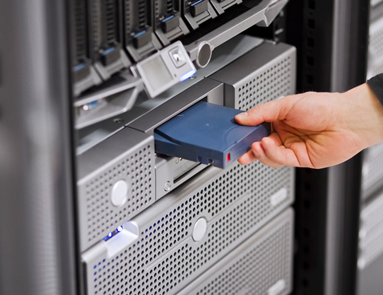 Inserting backup drive into server rack