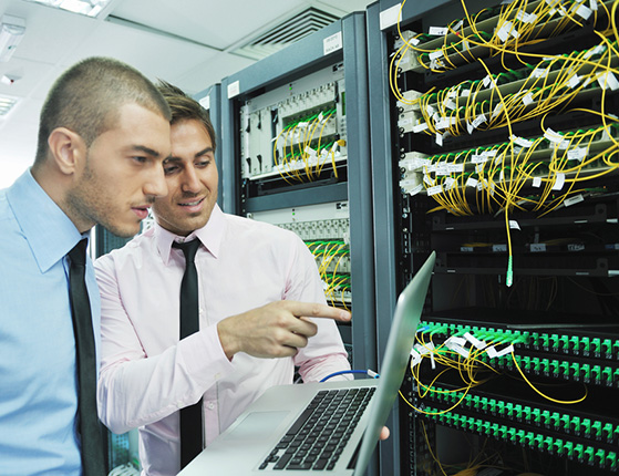 Network engineers checking secure infrastructure